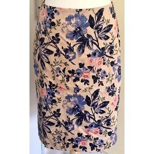 Talbots Floral Pencil Skirt Blue Pink